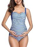 Summer Mae Vintage Streifen Schwangerschafts Einteiler Badeanzug Tummy Control Monokini Blau XL