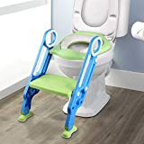 Yissvic Töpfchentrainer Toilettensitz für Kinder Toilettentrainer Lerntöpfchen mit Treppe Armlehnen PU Gepolstert Rutschfest Höhenverstellbar Grün MEHRWEG
