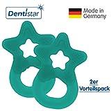 Dentistar Beißring im 2er-Set - Stern - Zahnungshilfe für Babys ab 3 Monate - Kühlbeißring Baby aus TPE - Made in Germany – Tannen Grün