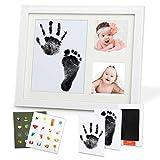 Lenbest Baby Handabdruck und Fußabdruck Gipsabdruck Set, Bilderrahmen Baby Abdruck für Neugeborene mit 1 Sauberes Touch Tinte Pad, 1 Geschenk-Box, 2 Druckkarten, 2 Aufkleber mit Insgesamt 32 Mustern