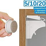 Premium magnetische Schubladen- /Schranksicherung Kindersicherung von BEARTOP - bombenfester Halt - mit Installationshilfe und optionalen Schrauben für besseren Halt - 100% ZUFRIEDENHEITSGARANTIE