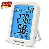 Bodyguard Digitales Thermometer Hygrometer, Temperatur Monitor mit Blauer Hintergrundbeleuchtung, kombiniert mit Kalender, Uhr und Weckfunktionen, Geeignet für Babyzimmer, Büros