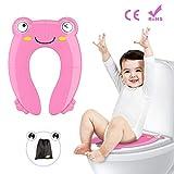 Besfair Kinder Toilettensitz, Faltbarer Toilettentrainer für Unterwegs, Tragbar Reise WC Sitz Kleinkind Töpfchentrainer mit Aufbewahrungstüte und WC Sitzbezüge (Pink)