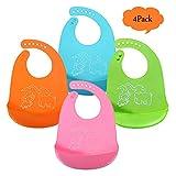 WENTS Weiches Lätzchen Silikon Baby Lätzchen Super Weichen Antibakteriell Wasserdicht Lätzchen für Baby Feeding,Easy zu reinigen Baby-Lätzchen 4Pcs 4 Farben