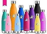 KollyKolla Vakuum Isolierte Edelstahl Trinkflasche, 350ml BPA Frei Wasserflasche Auslaufsicher, Thermosflasche für Sport, Outdoor, Fitness, Kinder, Schule, Kleinkinder, Kindergarten (Rose Rot)