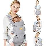 Viedouce Babytrage Ergonomische/Reine Baumwolle Leicht und atmungsaktiv/Multiposition:Dorsal und Ventral/Verstellbare Kopfstütze/für Neugeborene und Kleinkinder von 0 bis 4 Jahren (3,5 bis 20 kg)