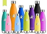 KollyKolla Vakuum Isolierte Edelstahl Trinkflasche, 650ml BPA Frei Wasserflasche Auslaufsicher, Thermosflasche für Sport, Outdoor, Fitness, Kinder, Schule, Kleinkinder, Kindergarten (Oliven)