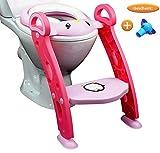 PREMIUM Toiletten Sitz Kinder mit Treppe für Mädchen in Rosa | stabil, klappbar/faltbar, höhenverstellbar (35-44cm) | Baby Toiletten Trainer für 1-7 jährige Kids + GESCHENK