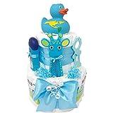 Windeltorte Badeentchen'Hugo' Blau oder Rosa Geschenk zur Taufe oder Geburt Geschenkfertig in...