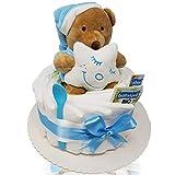 Windeltorte mit Teddy-Spieluhr von Homery, perfekt als Geschenk für Baby-Party oder zur Geburt -...