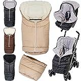 2in1 Winterfußsack (0 bis 36 Monate) für Babyschale / Kinderwagenschale / Kinderwagen / Buggy (Schwarz / Hellgrau)