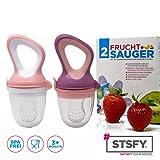 2 Fruchtsauger für Baby & Kleinkind + 6 Silikon-Sauger in 3 Größen - BPA-frei - Schnuller...