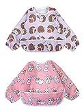 Ärmel-Lätzchen lang Baby Kleinkind Lätzchen Wasserdicht Kurzarm Lätzchen Fütterung Lätzchen Schürze mit eingebauten Tasche für Babys/Kleinkinder / Kleinkinder (Kleines Kaninchen/kleiner Igel)