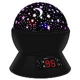 Sternenhimmel Projektor Kinder Lampe, LED Nachtlicht Rotierend mit 4LED Birnen, 8 Licht Modus und 2 Energieversorgung, Timer-Schalter Sky-Star Night Light für Zimmer Festival Dekoration oder Geschenk (Schwarz)