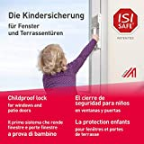 ISI SAFE NEU - die Nr. 1 Kindersicherung - WEISS für Fenster, Balkon- und Terrassentüren, werkzeuglose Montage, keine Beschädigung am Fenster durch Bohren oder Kleben …
