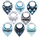 Baby Dreieckstuch Lätzchen 8er Pack Halstuch Spucktuch Lätzchen mit Druckknopf für Baby Jungen...