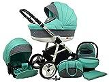 Kinderwagen BABYLUX ALU WAY MINZE, 3 in 1- Set Wanne Buggy Babyschale,Muffe