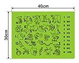 Tischset/Platzset aus Silikon für Kinder 4 Stück - Platzdeckchen/Platzmatten im 4er Set - Tischunterlage mit ABC, Zahlen, Tieren - grün