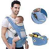360 Ergonomische Babytrage Verstellbarer Rucksack mit Hüftsitz,Alle Jahreszeiten Sommer,Baby Wickeltasche mit großer Kapazität,Atmungsaktiv Sicher,Hellblau
