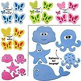 4 Stück - Badewanneneinlage / Sticker mit Noppen -  Schmetterlinge - PINK - ROSA  - Anti Rutsch Pad - Einlagen z.B. für Dusche / Badewanne - Aufkleber aus S..