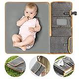 Zamboo Tragbare Baby Wickelunterlage für unterwegs   Faltbare Reise Wickeltasche mit abwaschbarer Wickelauflage 60x50 cm und Befestigung für Kinderwagen - Melange Grau