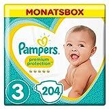 Pampers Premium Protection Windeln, Gr. 3 Midi (6-10 kg), Monatsbox, 1er Pack (1 x 204 Stück)
