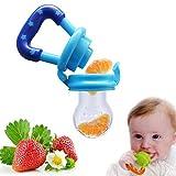 Fruchtsauger mit Schutzkappe, Homure Sicherer und Spaß Baby Frucht Sauger Gemüsesauger für Solide Frische Lebensmittel, Blau - BPA Freier Schnuller für 3 Monate und älter Babys und Säuglinge