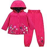 LZH Mädchen Kinder Regenjacke mit Kapuze Regenhose 2pcs Bekleidungsset (1-2 Years(90), Magenta)