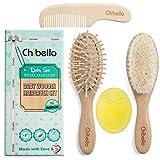 Chibello 4 Stück Holz Baby Haarbürste und Kamm-Set   natürliche Ziege Borsten Bürste   Holz Borstebürste