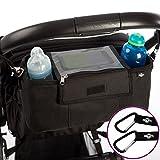 BTR Buggy und Kinderwagen Organizer, Exklusive Smartphone-Tasche und Handy Halter & wasserfester Regenschutz. PLUS 2 Kinderwagen Clips. Unverzichtbares Kinderwagen-Zubehör