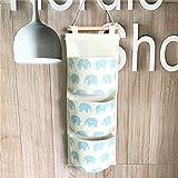 Fieans Hanging Storage Bag Back Wall Hung Door Pocket Wand Utensilo Wohnzimmer Schlafzimmer Hängenden Tasche-Blau Elefant