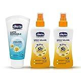 CHICCO - MADE IN ITALY Sonnenschutz All-in-One Pflegeset für Kinder: Sonnenspray LSF 50+ wasserfest, Sonnenspray LSF 30+ wasserfest, After Sun Milch getestet auf empfindlicher Haut