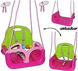mitwachsende - Babyschaukel / Gitterschaukel mit Gurt - ' ROSA / PINK ' - leichter Einstieg ! - mitwachsend & verstellbar - 100 kg belastbar - Kinderschaukel ab 1 Jahre - mit Rückenlehne & Seitenschutz - Schaukel für Kinder - Innen und Außen / Garten - für Baby´s - aus Kunststoff / Plastik - Kunststoffschaukel - Mitwachsschaukel bunt - Sicherheitsgurt - Gitterschaukel / verstellbare Kleinkindschaukel - Baby - Indoor Outdoor