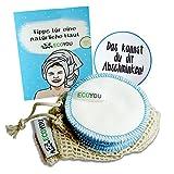 EcoYou Waschbare Abschminkpads aus 100% Baumwolle INKL. Wäschenetz aus Baumwolle + Hautpflege Guide...