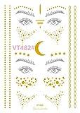 Huyizhi Metallische temporäre Tattoos Glossy Waterproof Tattoos Goldene Ephemera Body Aufkleber für Frauen (Farbe : VT482#)