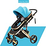 Luxus Infant Kinderwagen Faltbare Anti-Schock-High View-Wagen Neugeborene Kinderwagen Kinderwagen blaue Farbe