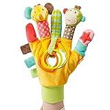 Fehn 074604 Spielhandschuh Safari / Fingerpuppen-Handschuh Affe und Elefant mit Rassel und Quietsche...