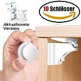 Magnetische Kindersicherung Schrankschloss | Aktualisierte Version | 10 Schlösser mit 2 Schlüssel | WoZon Baby Sicherheit Unsichtbare Schubladensicherung | Kindersicherung für Küchen