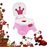 Kitechildhrrd Toilettentrainer Kinder WC Toilette Lerntöpfchen Toilettensitz Kindertoilette Töpfchen Trainer mit Musik (Rosa)