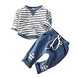 Babykleidung Satz, Ulanda Neugeborenes Baby Mädchen Jungen Langarm T-Shirt Tops + Hosen 2 Stück Kleidung Satz (Blau, 0-6 Monate)