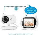 Video-Babyphone mit Kamera, OUTAD Baby Monitor/Baby Überwachungskamera, mit 3.5' LCD Display(Sound-aktivieren), Nachtsichtkamera,Temperaturüberwachung, Einziehbare Antenne, ECO-Mode, Wiegenlieder