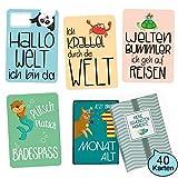 GLÜCKSWOLKE Baby Meilensteinkarten I Baby-Tagebuch aus 40 Fotokarten I besonderes Geschenk zur...