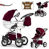16 teiliges Qualitäts-Reisesystem 3 in 1'COSMO-ECO' Kinderwagen + Buggy + Autokindersitz + Schwenkräder - Mega-Ausstattung - all inclusive Paket in Farbe (CE-6) WEIß-BORDEAUX