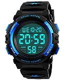 Jungen Digitaluhren, Kinder Sport 5 ATM wasserdicht Digital Uhren mit Alarm/Timer/El Licht, Blau...