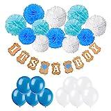 Recosis IT'S A BOY Papier Girlande Banner Dekoration mit 12pcs Seidenpapier Pom Poms und 20pcs...