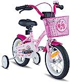 PROMETHEUS Kinderfahrrad 12 Zoll Mädchen in Rosa Lila & Weiß mit Stützrädern | Seitenzugbremse...