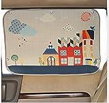 Tokkids - Sonnenschutz Auto für Kinder und Babys – Sonnenblende für Autofenster – Design Cute Village