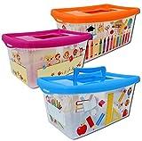 Aufbewahrungsboxen für Kinder transparent mit Deckel und Handgriff 4 Liter 3 Stück sortiert