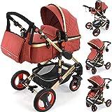 3 in 1 Kinderwagen'Bambimo Khaki Braun' Babywanne - Buggy - Sportsitz - Babyschale - Aluminium...