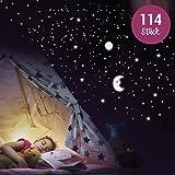 WANDKINGS Wandsticker 'Sonne, Mond und Sterne XL-Set' 114 Sticker, Fluoreszierend & im Dunkeln leuchtend